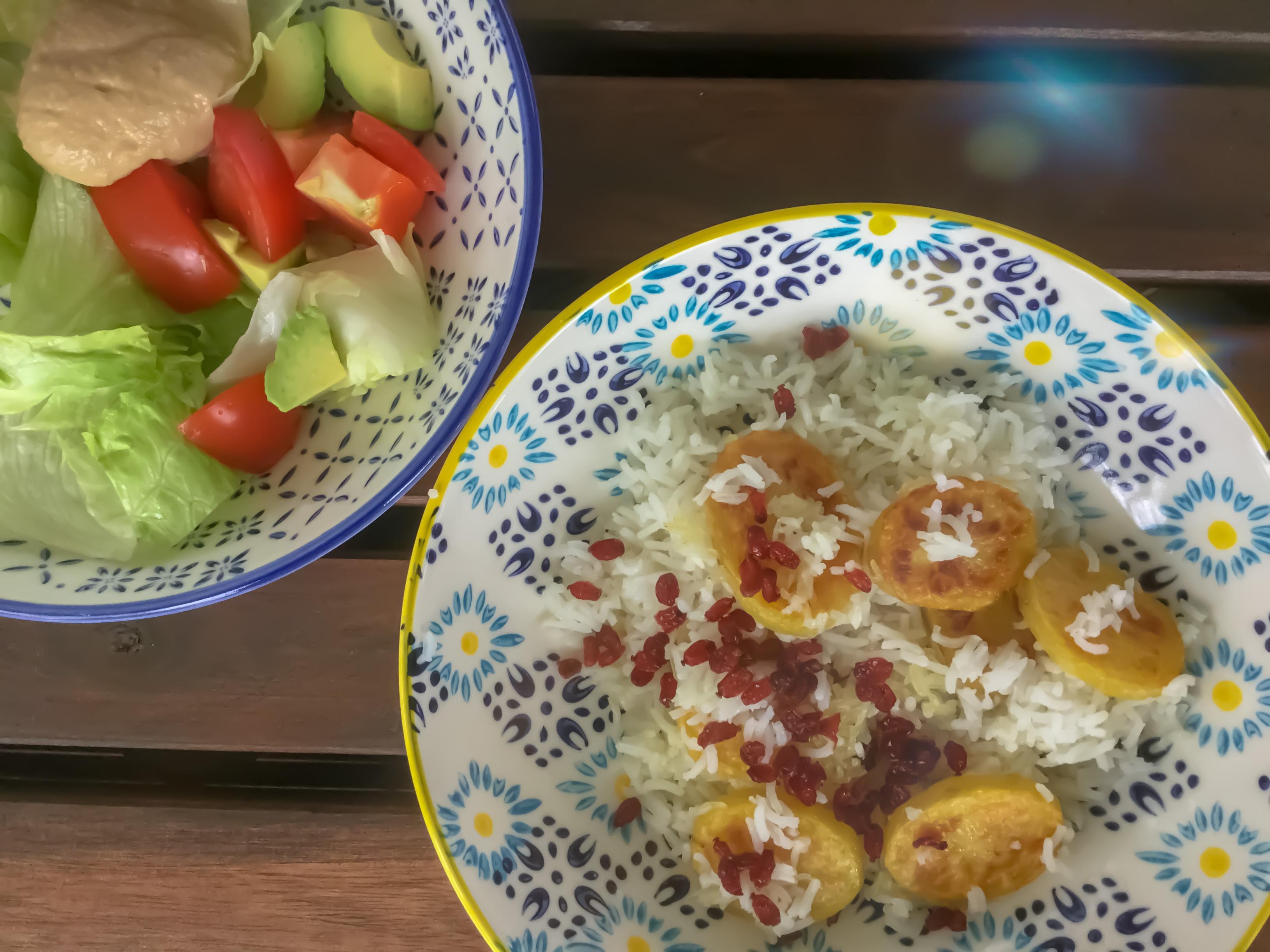 Kartoffelreis mit Berberitzen